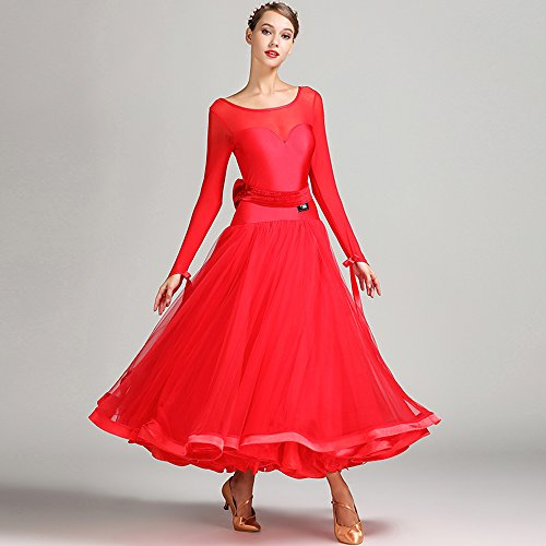 ZTXY Damen Hand Bestickt Modern Dance Kleid Großen Pendel Rock National Standards Dance Dress Tanzwettbewerb Performance Kleid Strass Dance Kostüm Flauschigen Rock Tango Walzer Rock,Red,S