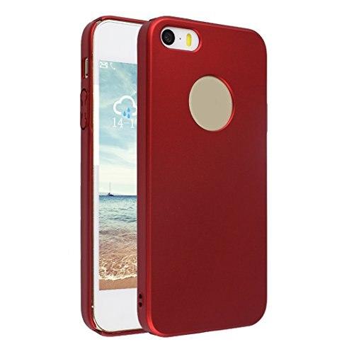 Cover iPhone 5S SE PC Rigida, Custodia iPhone 5 Oro rosa, Moon mood® Ultra Sottile Protective PC Hard Back Bumper Cover Sleeve Phone Case Antiurto Anti-scratch Anti-Graffio Copertura Protettiva in Pla Rosso