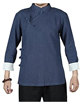 KIKIGOAL Chinoiserie Jacke für Männer Chinesische Kleidung Flachs und Baumwolle für Sommer und Helbst