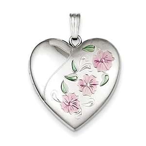 IceCarats Designer Jewellery Sterling Silver 24Mm Enameled, D/C Floral Heart Locket