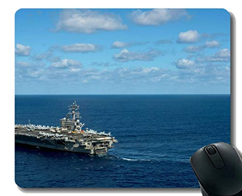 Kostüm Flugzeugträger - Mauspad mit genähtem Rand, Militär USS Ronald Reagan (CVN 76) Kriegsschiff-Mauspad, Rutschfeste Gummibasis Mousepad