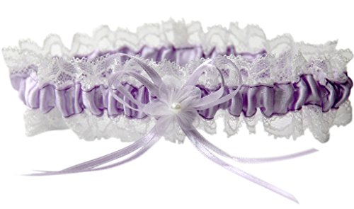 Strumpfband M8242IQ für die Braut mit Blumen und Schleife Flieder