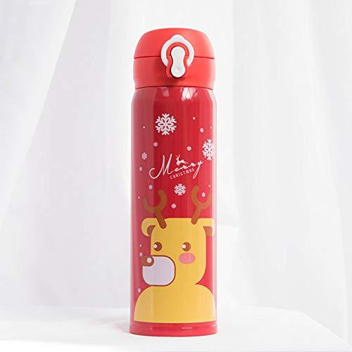 DKNBI Weihnachtseinfache Karikatur-Thermosflasche der Edelstahl-Wasser-Flaschen-doppelwandigen thermischen Schale
