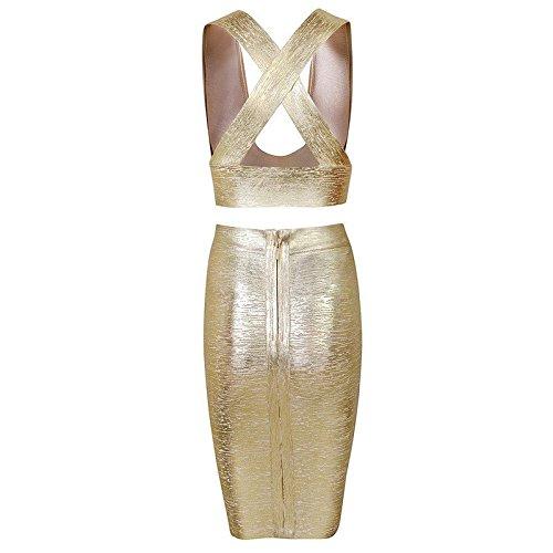 HLBandage 2 Piece Pu Leather Vest Top High Waist Rayon Bandage Dress Oro