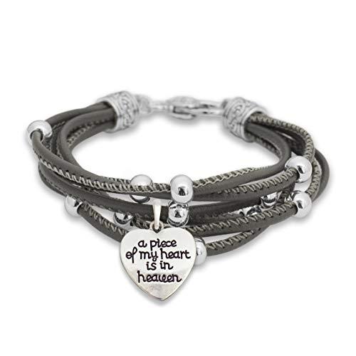 Lola Bella Gifts Armband A Piece of My Heart is in Heaven mit Geschenkbox, Größe M - L (Trauer Schmuck)