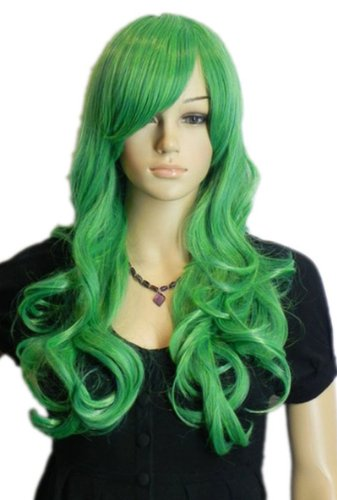 QIYUN.Z Haarteile Damen Perücken Langen Lockigen Wellenförmige Helle Grüne Rampe Knall Volles Haar Anime Cosplay Kostüm (Anime Kostüme Perücken)