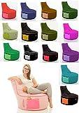 GlueckBean Hochwertiger Sitzsack mit Seitentaschen Indoor & Outdoor - Gaming Sessel Sitzkissen mit Styroporkugeln Füllung - auch ideal für Kinderzimmer - Schwarz mit Kiwi
