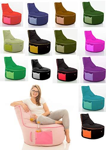 GlueckBean Hochwertiger Sitzsack mit Seitentaschen - Indoor & Outdoor - Gaming Sessel Sitzkissen mit Styroporkugeln Füllung - auch ideal für Erwachsene - Lime mit Kiwi