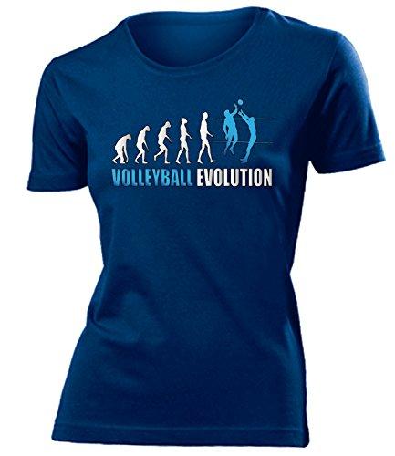 VOLLEYBALL EVOLUTION 542 Damen T-Shirt (F-N-Weiss-Blau) Gr. M (Volleyball Love T-shirt)