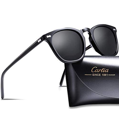Carfia Polarisierte Damen Sonnenbrille UV400 Schutz Outdoor Brille für Autofahren Angeln Freizeit Acetat Rahmen (TS1030 / Rahmen: Schwarz; Linsen: Schwarz)