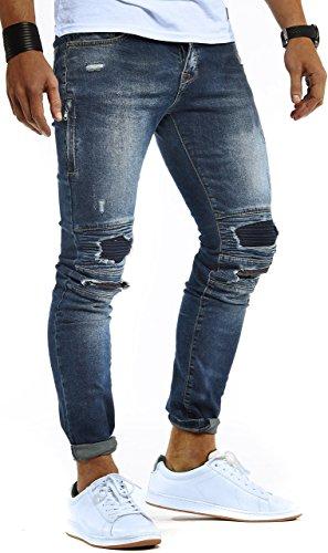 LEIF NELSON Herren Jeans Hose Slim Fit | Denim Blaue graue Lange Jeanshose für Männer | Coole Jungen weiße Stretch Freizeithose Schwarze Cargo Chino Sommer Winter Basic | LN9935BL Blau W30/L32