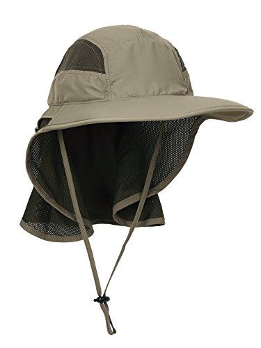 WANYING Unisex UV Schutz Sonnenhut mit Nackenschutz 12cm Großer Brim Outdoor Aktivitäten - für Kopfumfang 56-62cm Upgrade Stoffe Olive-Grün