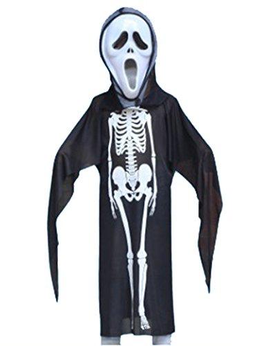(Pretty Princess Halloween Kinder Unisex Skelett Kostüm, Evil Devil Ghost Bademantel, Schwarz/Weiß, Fancy Dress Kostüm)