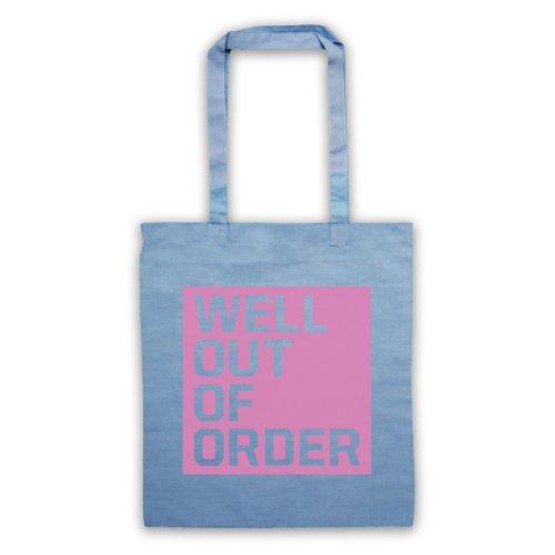 """Bene, Out Of Order """", scritta con Slogan divertente Borsa Azzurro"""