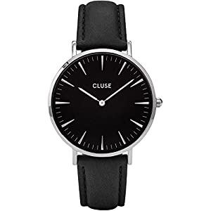 Cluse Damen Armbanduhr Analog Quarz Leder CL18201, Schwarz