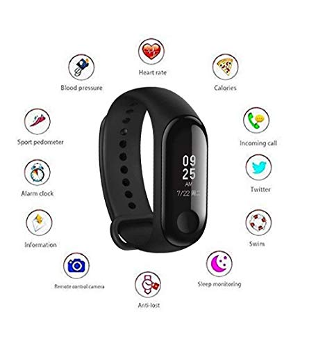 INDeSHOP M3 Intelligence Bluetooth Smart Watch Smart Bracelet Health Band Activity Tracker Bracelet Fitness Band M3 Band with Heart Rate Sensor Compatible for All Androids and iOS Phone Tablet