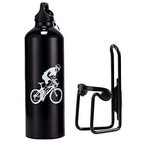 Lmeno Bicycle Water Bottle Cage Holder and Bike Water Bottle 750ml Aluminum Alloy Rack Bracket Universal Drink Bottle Mount Carrier Cycling Handlebar Lightweight Component Support Kit + CE Standard Eco-Friendly Sports Water Bottle 4 Colors- Black