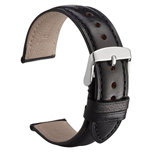 WOCCI Feinkörnig Kalb Leder Uhrenarmband 22mm - Herren, Damen Ersatz Armband (Schwarz mit Ton-in-Ton-Naht)