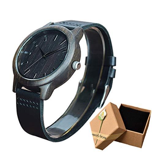 MäNner Holz Uhr Lederband Stunden Japan Quarz Armbanduhr Personalisierte Zebra Bambus Holz Uhren MäNnliche Uhr Geschenk Black Leather Box