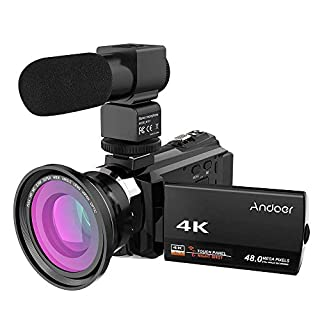 Andoer Camcorder 4K Wifi Night Vision with External Microphone Wide Angle Lens Digital Video Camera 1080P Full HD