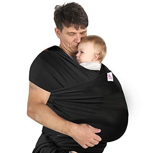 Lictin Fascia Porta Bambino Fascia Porta BebèBaby WrapMarsupio Fascia Neonato per Neonati e Bambini Fino 16 kgMorbido e ConfortevoleNero