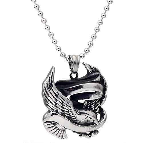 sijkall Halskette Peace Messenger Anhänger Titan Stahl Schmuck Herren Fliegende Taube Teaser Halskette -