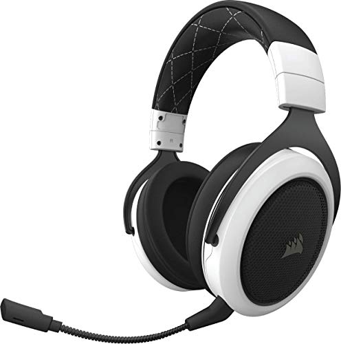 Corsair HS70 Wireless Cuffie Gaming 7.1 Surround Sound, con Microfono Staccabile, per PC/PS4, Bianco