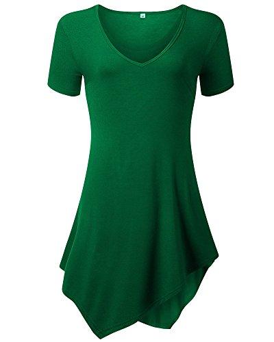 Moollyfox T-Shirt Casuel Col En V Court Femmes Manches Longues Vert