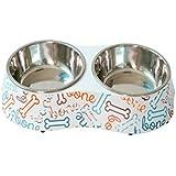 TONGBOSHI Tazón de Comida para Perros y Gatos, tazón para Gatos, tazón de arroz Doble para Dos tazones, tazón para Alimentos para Perros, tazón para Alimentos para Gatos, artículos para Mascotas (Hay