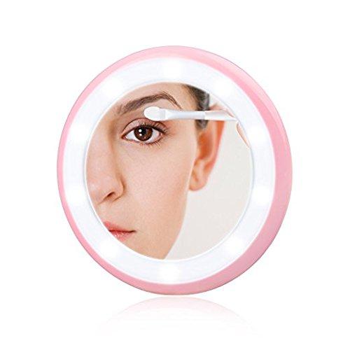 Konsait Aufladbarer taschenspiegel kompaktspiegel rund LED beleuchtet Kosmetikspiegel kleiner spiegel mit beleuchtung Schminkspiegel Rasierspiegel für Zuhause und Reise (Rosa)