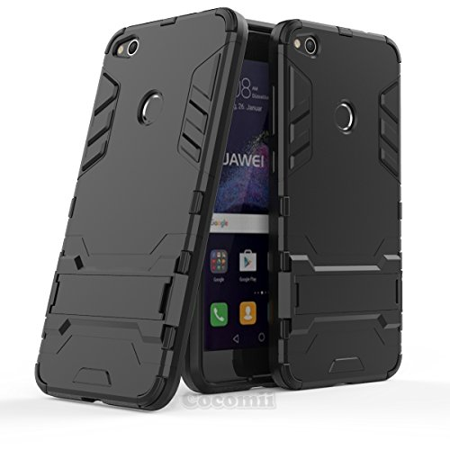 Huawei p8 lite 2017 custodia, cocomii iron man armor new [heavy duty] premium tactical grip kickstand shockproof hard bumper shell [military defender] full body dual layer rugged cover case paraurti (jet black)