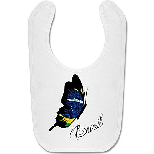 Städte & Länder Baby - Brasil Schmetterling - Unisize - Weiß - BZ12 - Baby Lätzchen Baumwolle