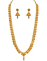Jfl - Jewellery For Less Traditional Ethnic One Gram Gold Plated Designer Long Necklace Set With Earrings For Women & Girls