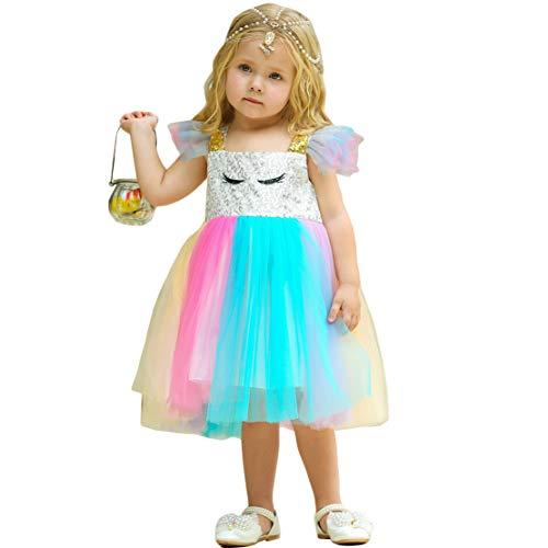 chen Einhorn Kleid Tulle Pailletten Regenbogen Geburtstag Party Prinzessin Kleider ()