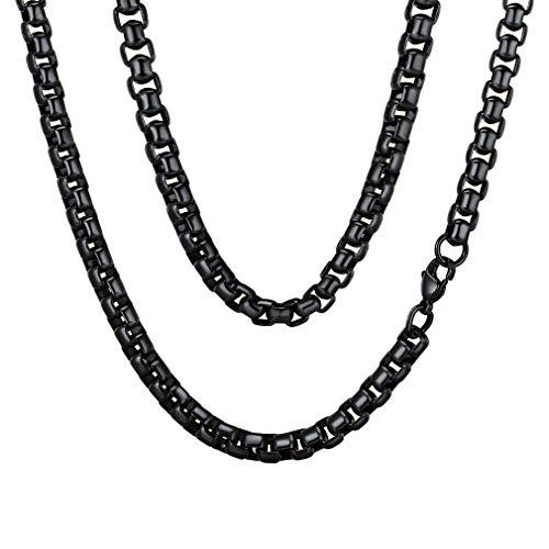 FaithHeart Herren-Kette Königskette Herrenkette, 6mm Breit Edelstahl Halskette Ketten Männer Schwarz 56cm Herrschsüchtig Rau Rock für Herren