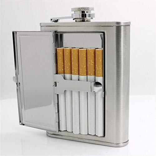 Mehrzweck Zigarettenetui Box & 6oz Edelstahl Flachmann Alkohol Kappe Trichter Trinkflasche