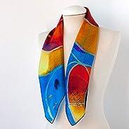 Blue watercolor silk scarf, Gaudi Barcelona Square neck scarf