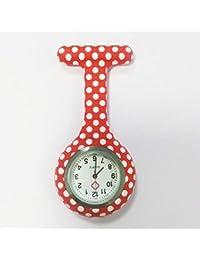 HSDDA Motif de Points Montre infirmière Unisexe infirmière à Suspendre Montre infirmière Gel de silice Watch (Rouge)