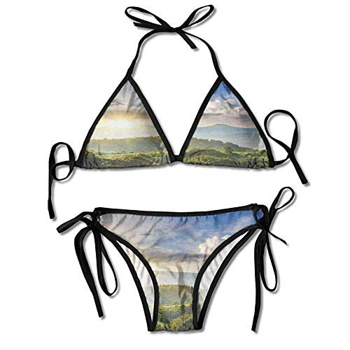 Hot Summer Women's Bikini,Forest Hill Woodland Idyllic Sexy Bikini 2 Pieces (Forest Hill Halloween)
