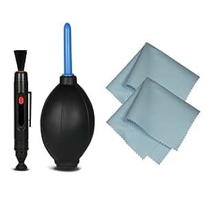 4in1 Kit di pulizia - Cleaning Kit professionale per fotocamere DSLR ( Canon, Nikon, Pentax, Sony, Samsung ) - include: Pennello per pulizia obiettivi e lenti (LensPen) + Soffietto + 2x Panno di pulizia in microfibra