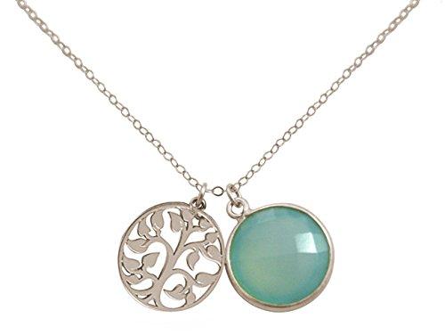 Gemshine - Damen - Halskette - Anhänger - LEBENSBAUM - 925 Silber - Chalcedon - Meeresgrün - 45 cm