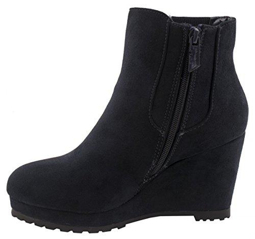 Elara Wedges stivaletti | alla moda Plateau Boots | Zipper effetto pelle scamosciata Blau