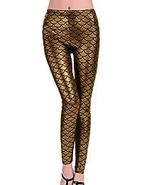 c629c6b66857a5 Minetom Damen Fischschuppe Glanz Leggings Fisch Schuppen Scale Glänzend  Strumpfhose Hüfthose Hose Karneval Kostüm Mädchen…
