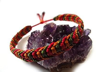 Bracelet brésilien/amitié/bijoux unisexe en fil Marron/Camel Rouge foncé et Vert kaki tissé main en macramé avec du fil ciré Réf.3PPCamKakRouge