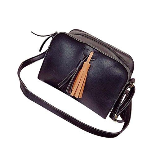 Regalo di festival, Reasoncool Donne nappe di modo del cuoio borsa di Crossbody Shoulder Bag Coin Zero Messenger Nero