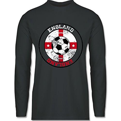 EM 2016 - Frankreich - England Kreis & Fußball Vintage - Longsleeve / langärmeliges T-Shirt für Herren Anthrazit