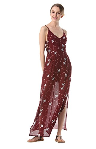 ACVIP Chiffon Lungo Vestito Canotte Senza Schiena Vestito Spiaggia Fiori Rosso