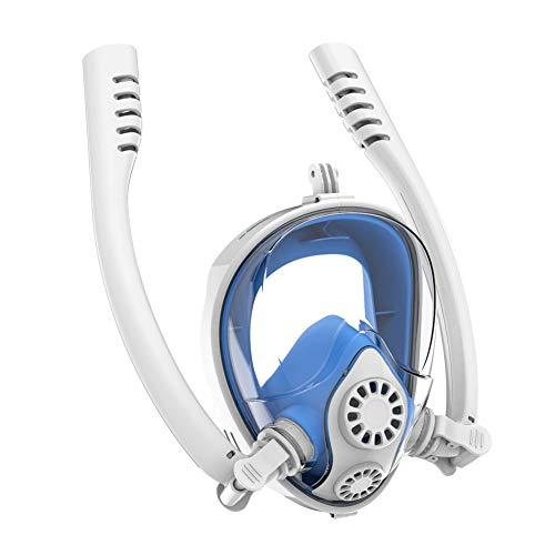 Vollgesichts-Schnorchelmaske Anti-Beschlag-Anti-Leck, 180 ° klare Sicht, faltbares Design für Erwachsene und Kinder, mit neuestem Dry Top System mit Abnehmbarer Kamera (2 Farbe), blau, []