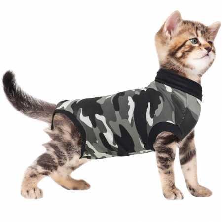 (Suitical Recovery Suit, Katzen-Anzug zur Rehabilitation, Größe XXS, Schwarz-Camouflage)