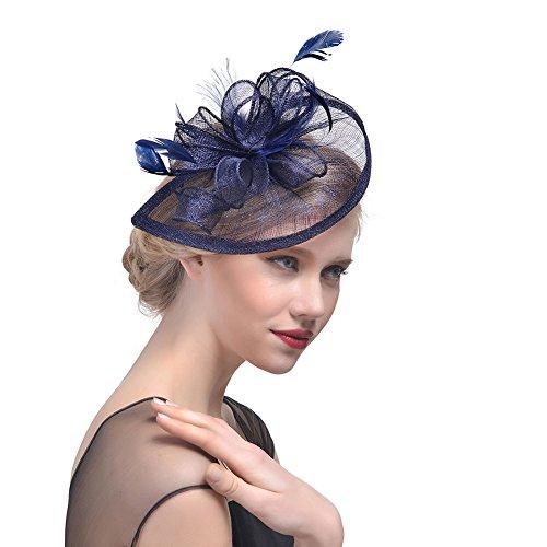 iKulilky Braut Fascinator Blumen Netz Kopfschmuck Damen Haar Clip Britischer Bowler Hut Feder Haarschmuck Kopfbedeckung für Party Kirche Hochzeit - Britische Marine Kostüm